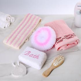 Набор банный, 6 предметов: 3 мочалки, полотенце, пемза, расчёска, цвет МИКС