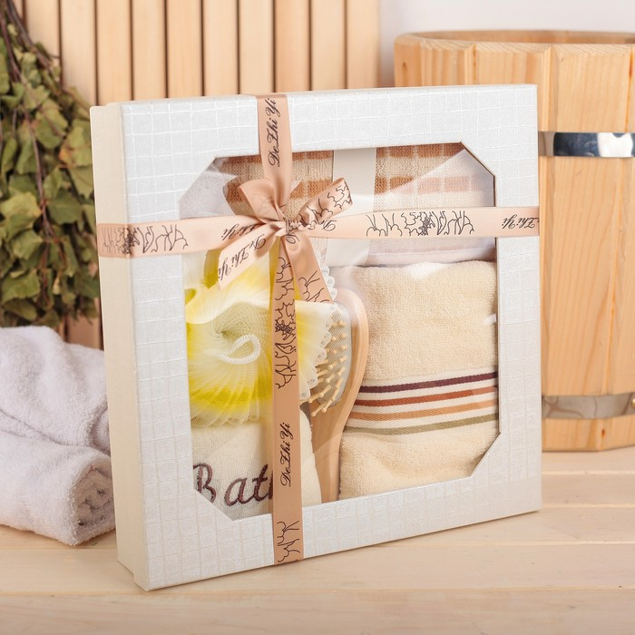 Набор банный 6 предметов: 3 мочалки, полотенце, пемза, расческа, цвет МИКС
