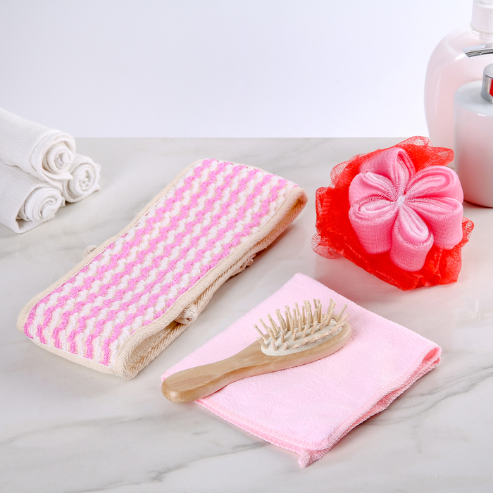 Набор банный, 4 предмета: 2 мочалки, полотенце, расчёска