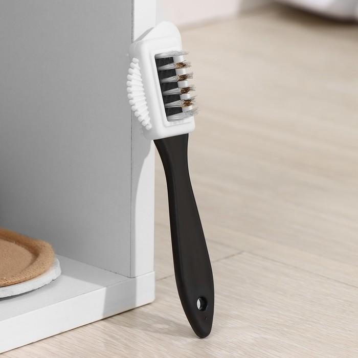 Щётка для обуви тройная: замша, нубук, велюр, 15×4 см, цвет чёрный