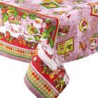 """Скатерть рогожка """"Новогодняя открытка"""" 145х145 см, розовый, 160 г/м2, хлопок 100%"""