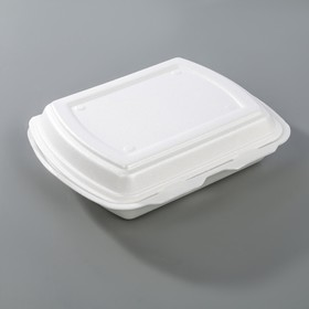 Ланчбокс одноразовый 247х198х75 мм, 3-х секционный, цвет белый