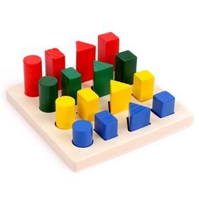 Логические столбики «Формы», толщина доски: 1,3 см, углубление: 5 мм