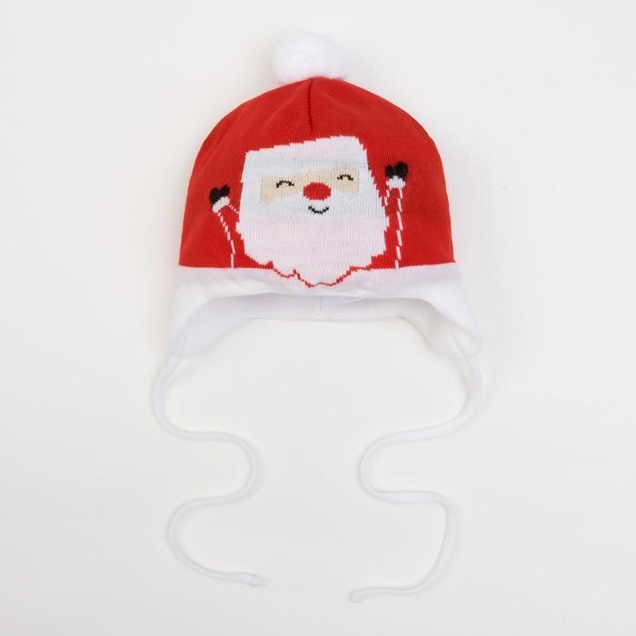 """Шапка вязаная Крошка Я """"Костюм Деда Мороза"""", размер 44, 6-9 мес, шерсть,пан, хлопок - фото 1962881"""