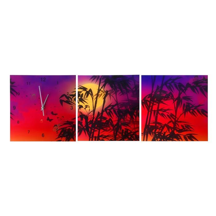 """Настенные часы-картина 3 в 1 """"Закат в тропиках"""", 30 × 30 см"""