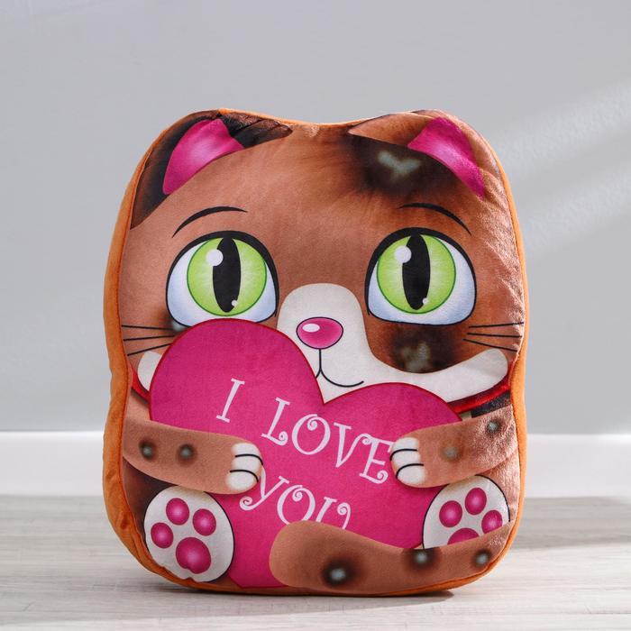 """Мягкая игрушка """"Милый котик"""" с сердцем"""