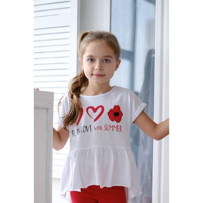 """Футболка для девочки """"Маки"""", белая, р. 32 (110-116 см) 5-6 лет., 100 % хлопок"""