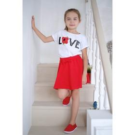 """Футболка для девочки """"Love"""", белая, р. 32 (110-116 см) 5-6 лет., 100 % хлопок"""