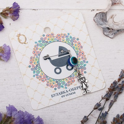 """Safety pin charm """"For the girl"""", 8cm, color white-blue silver"""