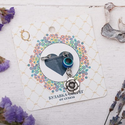 """Safety pin charm """"Fragrant love"""", 8cm, color white-blue silver"""
