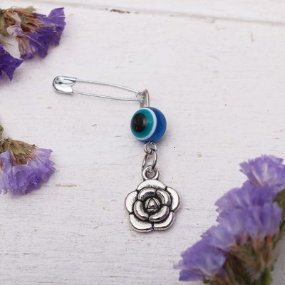 "Safety pin charm ""Fragrant love"", 8cm, color white-blue silver"