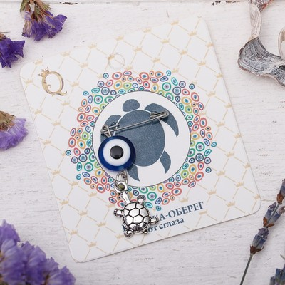 "Safety pin charm ""peace and Tranquility"", 8cm, color white-blue silver"