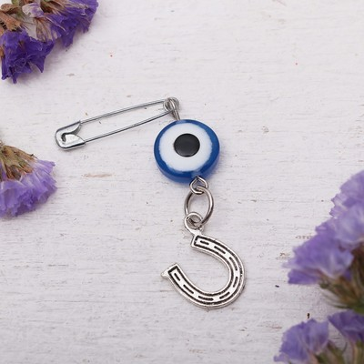 "Safety pin charm ""No nails! No wand!"", 6cm, color white-blue silver"