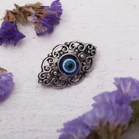 "Brooch-talisman ""True path of life"", 6cm, color white-blue in nielloed silver"