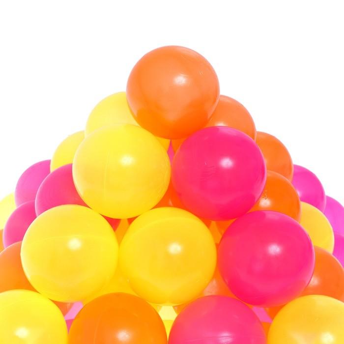 Шарики для сухого бассейна с рисунком «Флуоресцентные», диаметр шара 7,5 см, набор 60 штук, цвет оранжевый, розовый, лимонный