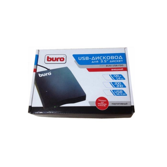 """Дисковод USB 3.5"""" Buro BUM-USB FDD 1.44Mb внешний черный"""