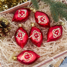 """The decoration of the Christmas """"Onion-flower"""" red (set of 6 PCs) 4*7 cm"""