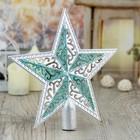 """Наконечник звезда """"Алюр"""" 19*18,5 см, серебро с зелёным"""