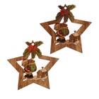 """Набор декора для творчества дерево """"Мишка с мешком подарков в звёздочке""""набор 2 шт 7х6,7см"""