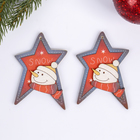 "Набор декора для творчества дерево ""Снеговик и звезда"" набор 2 шт 8,3х5,8 см"