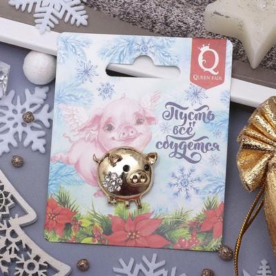"""Брошь """"Новогодняя сказка"""" хрюшка с цветком, 3см, цвет белый в золоте"""