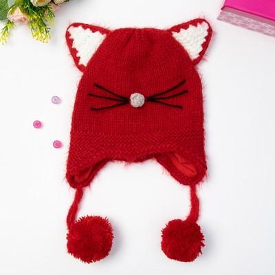 """Шапка детская MINAKU """"Котёнок"""", размер 50, цвет красный"""