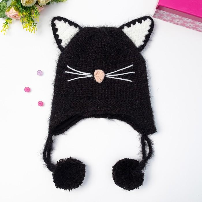 Шапка детская MINAKU «Котёнок», размер 50, цвет чёрный