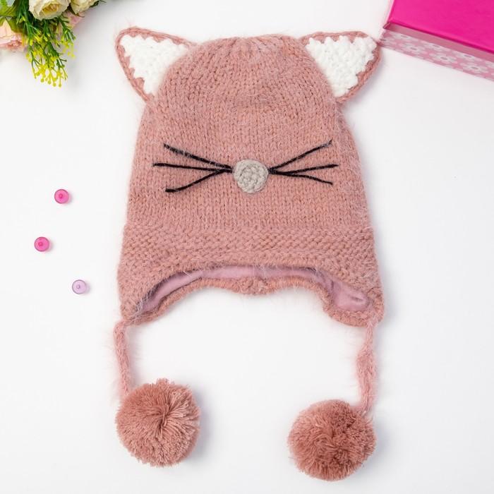 """Шапка детская MINAKU """"Котёнок"""", размер 50, цвет розовый"""