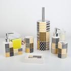 Набор аксессуаров для ванной комнаты «Геометрия», 6 предметов (мыльница, 2 дозатора для мыла, 2 стакана, ёрш) - фото 7930127