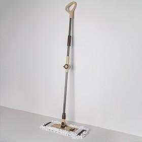Швабра плоская Доляна, телескопическая стальная ручка 76-115 см, насадка микрофибра 44×12 см, цвет МИКС - фото 4647301