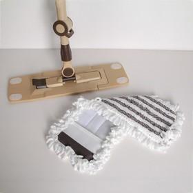 Швабра плоская Доляна, телескопическая стальная ручка 76-115 см, насадка микрофибра 44×12 см, цвет МИКС - фото 4647302