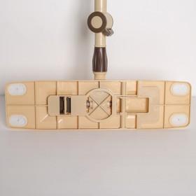 Швабра плоская Доляна, телескопическая стальная ручка 76-115 см, насадка микрофибра 44×12 см, цвет МИКС - фото 4647303