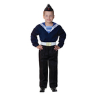 Карнавальный костюм «Моряк в пилотке» для мальчика, синяя фланка, брюки, ремень, р. 40, рост 152 см
