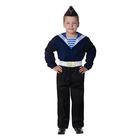 """Карнавальный костюм """"Моряк в пилотке"""" для мальчика, синяя фланка, брюки, ремень, р-р 40, рост 152 см"""