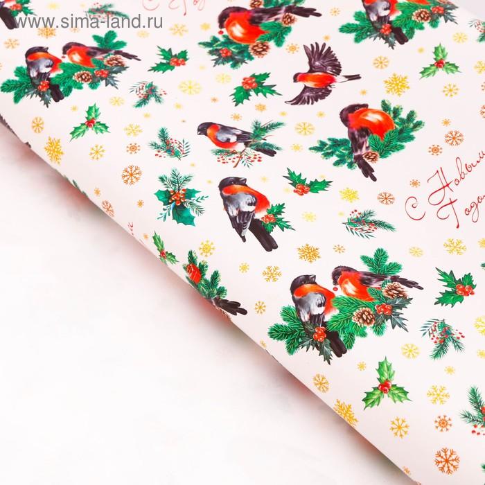 Бумага упаковочная глянцевая «Снегири на ветвях», 70 х 100 см