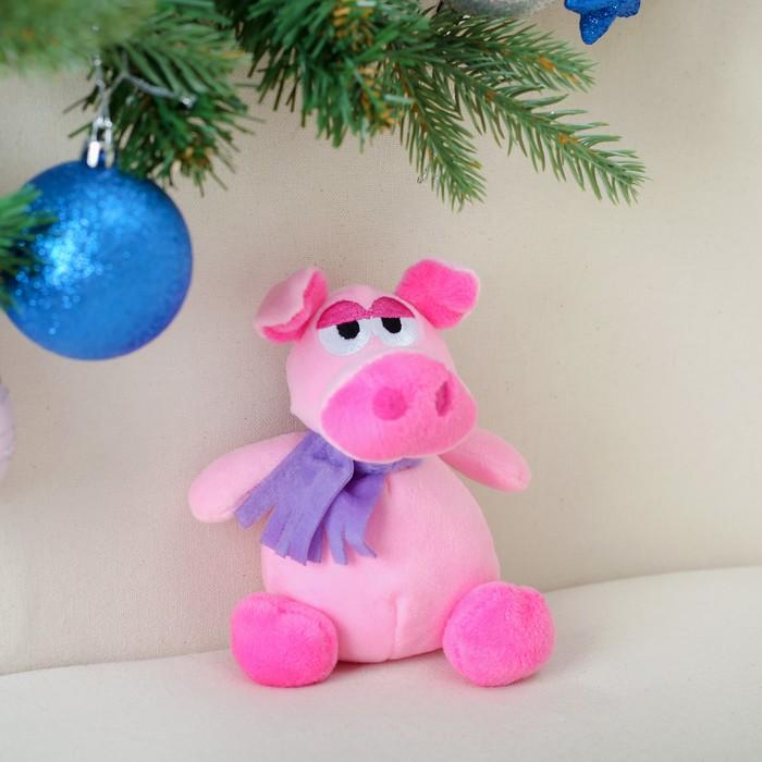 """Мягкая игрушка """"Хрюн фиолетовый шарф"""" 13 см"""
