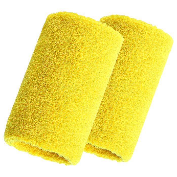 Спортивный напульсник на руку 8х10 см (пара), цвет желтый