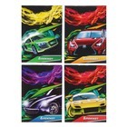 """Notepad A7 40 sheets clip Calligrata """"Cars and speed"""", the cover is cardboard chrome-ersatz"""