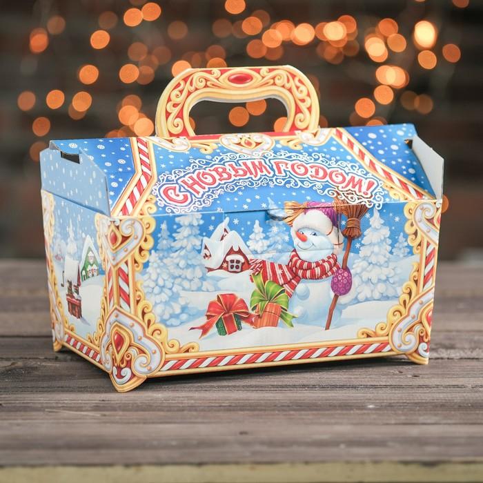 "Подарочная коробка ""Новогодняя"", сундучок, сборная, 25 х 15 х 15 см - фото 308275544"