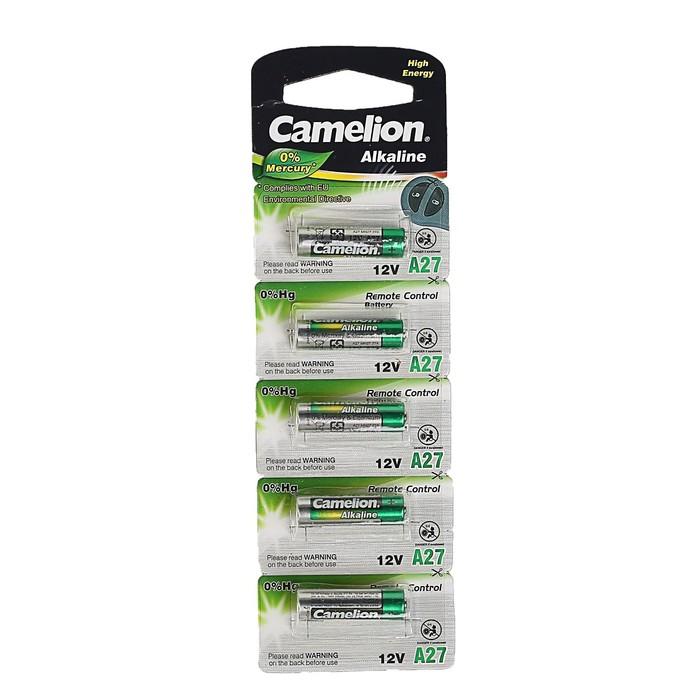 Батарейка алкалиновая Camelion Mercury Free, A27 (MN27, 27A)-5BL, 12В, блистер, 5 шт.