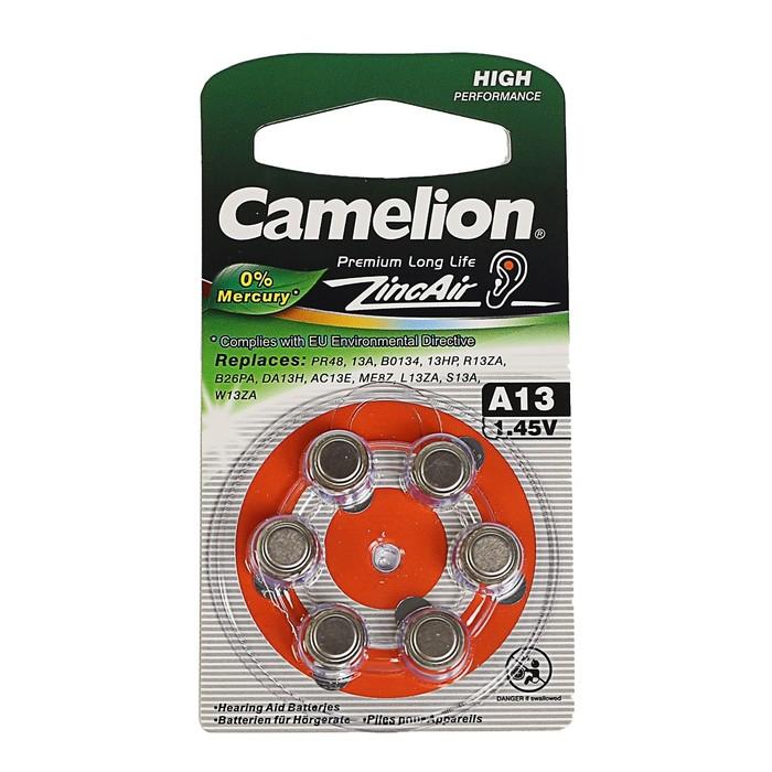 Батарейка цинковая Camelion, A13 (PR48)-6BL, для слуховых аппаратов, 1.45В, блистер, 6 шт.
