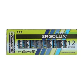 Батарейка алкалиновая Ergolux, AAA, LR03-12BOX (LR03 BP-12), 1.5В, набор 12 шт.