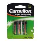 Батарейка солевая Camelion R03-4BL (R03P-BP4G), 1.5В, блистер, 4 шт.