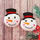 """Декор для творчества - мягкая игрушка """"Снеговичок"""" размер 1 шт 7*5,5*2 см, набор 2 шт"""