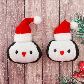 Декор для творчества - мягкая игрушка «Пингвин в шапочке» размер 1 шт: 6,5×5,8×2 см, набор 2 шт.