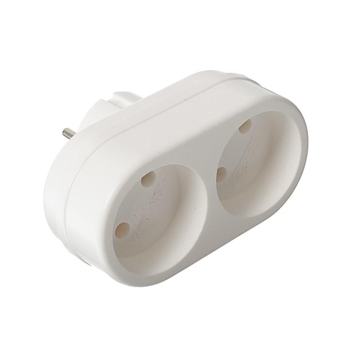 Двойник электрический REXANT, 6-10 А, без з/к, белый, 11-1074