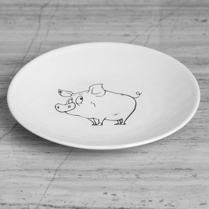 """Тарелка плоская """"Свинка"""" 19,5 см белая, микс"""