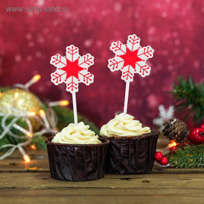 """Skewers for canapes """"Snowflakes"""" color: red (set of 20pcs)"""