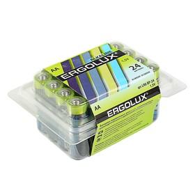 Батарейка алкалиновая Ergolux, AA, LR6-24BOX (LR6 BP-24), 1.5В, набор 24 шт.