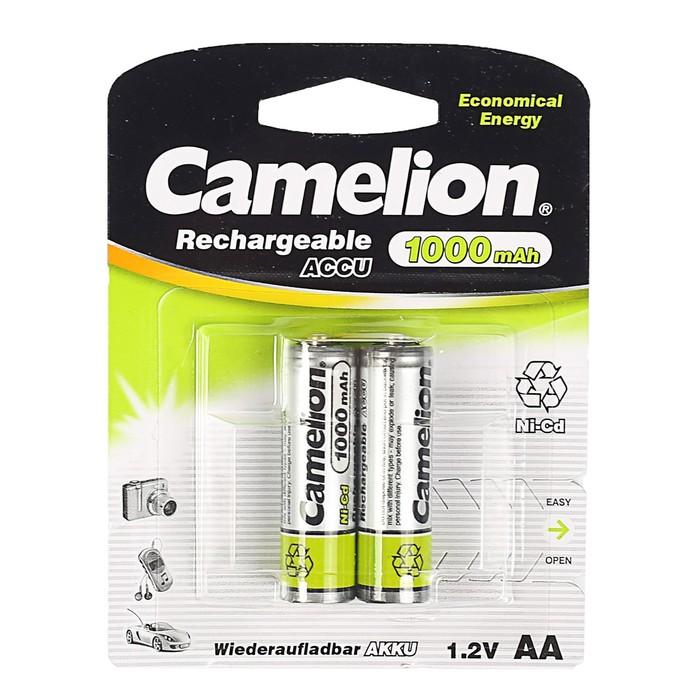 Аккумулятор Camelion, Ni-Cd, AA, KR6-2BL (NC-AA1000BP2), 1.2В, 1000 мАч, блистер, 2 шт.